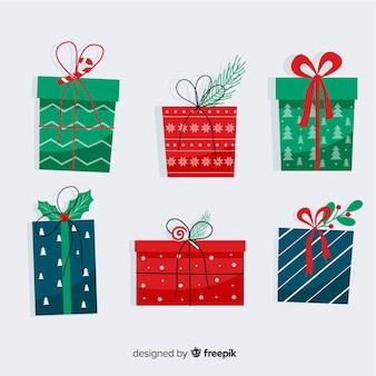 Collection de cadeaux de noël design plat
