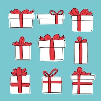 Collection de cadeaux de noël dessinés à la main