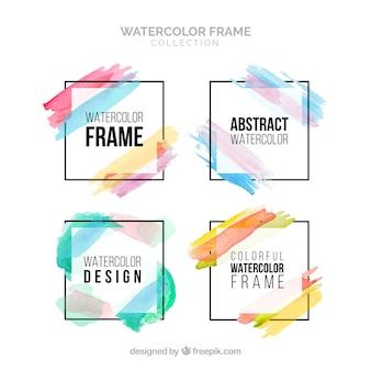 Collection de cadre aquarelle coloré