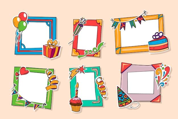 Collection de cadre de collage d'anniversaire dessiné
