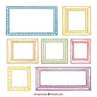 Collection de cadre coloré avec style dessiné à la main