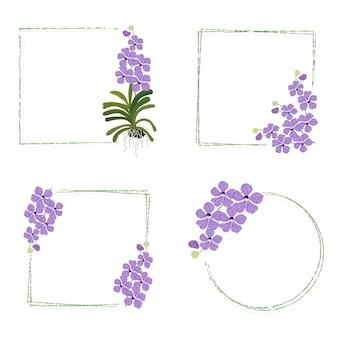 Collection de cadre de couronne de bouquet vanda violet minimal isolé sur blanc