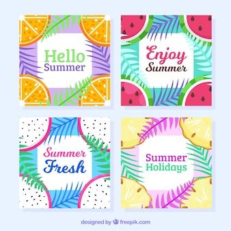 Collection de cadre d'été avec des fruits