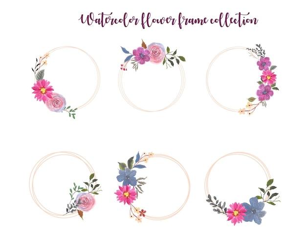 Collection De Cadre De Fleur Aquarelle Vecteur Premium