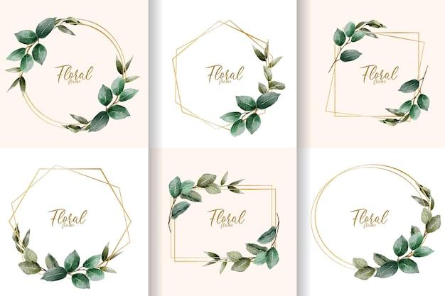 Collection de cadre floral aquarelle minimaliste avec des feuilles dessinées à la main
