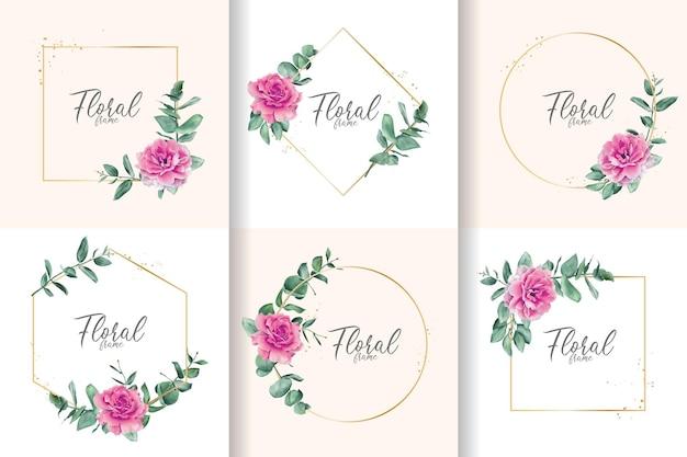Collection de cadre floral aquarelle minimaliste avec fleur et feuilles dessinées à la main