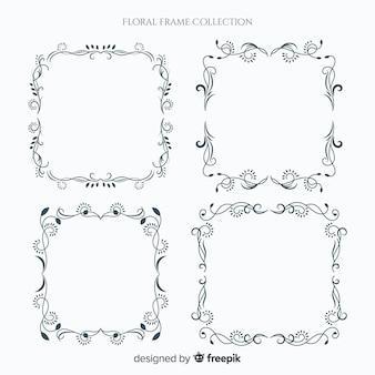 Collection cadre floral élégant avec design vintage