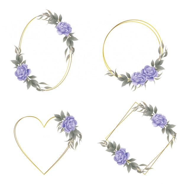 Collection de cadre floral vintage avec bordure dorée