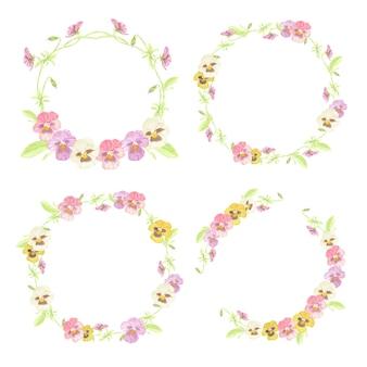 Collection de cadre de guirlande aquarelle fleur pensée coloré isolé sur fond blanc