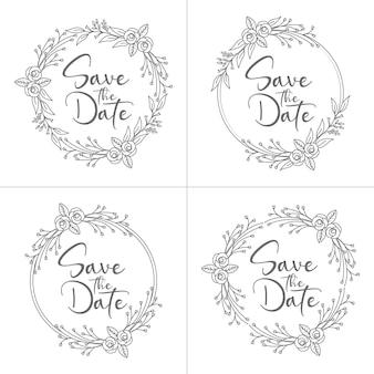 Collection de cadre de mariage floral minimal de style cercle et monogramme avec couronne de mariage