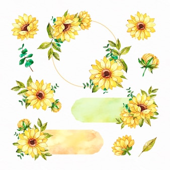 Collection de cadre de tournesol aquarelle et ensemble de scrapbooking
