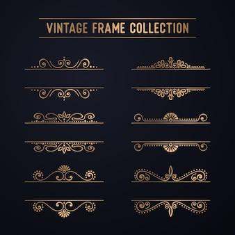 Collection de cadre vintage en or de luxe