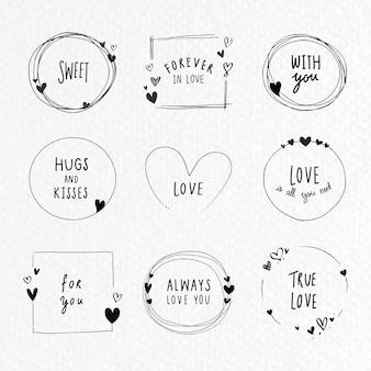 Collection de cadres d'amour doodle