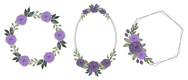 Collection de cadres aquarelle roses violettes