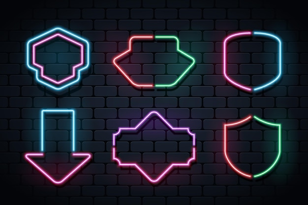 Collection de cadres au néon lumineux