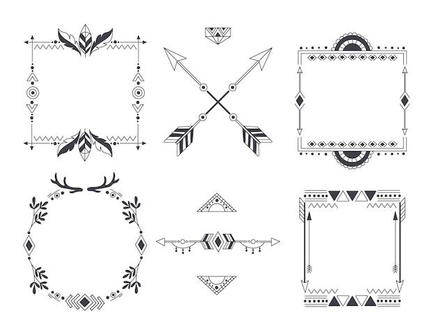 Collection de cadres boho dessinés à la main