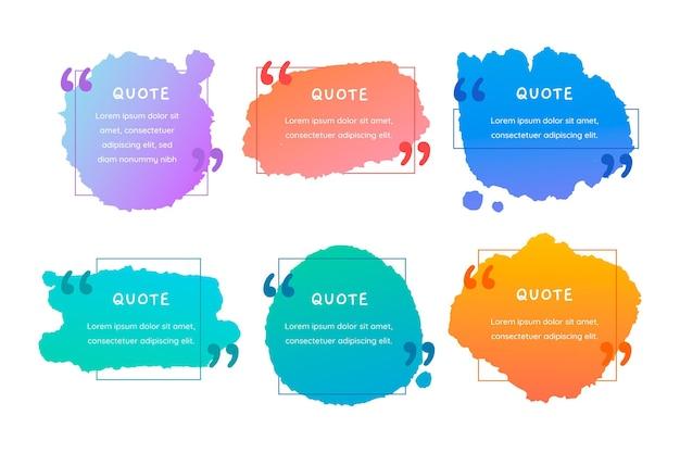 Collection de cadres de boîte de citation colorée peinte à la main