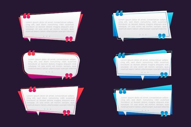 Collection de cadres de boîte de citation dégradé