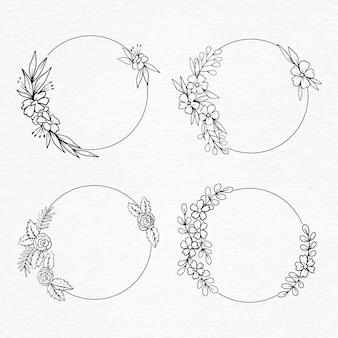 Collection de cadres circulaires floraux dessinés à la main