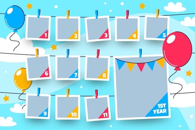 Collection De Cadres De Collage D'anniversaire Au Design Plat Vecteur gratuit