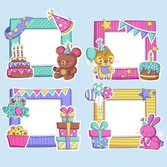 Collection de cadres de collage d'anniversaire au design plat