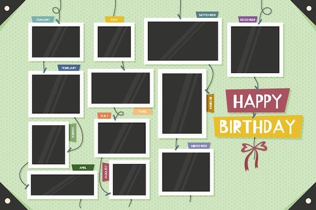 Collection de cadres de collage d'anniversaire design plat