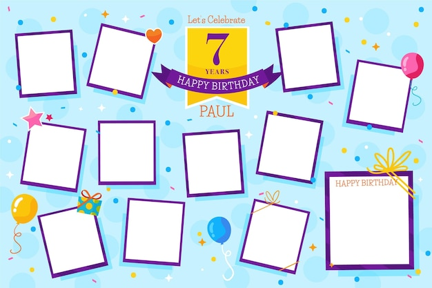 Collection De Cadres De Collage D'anniversaire Design Plat Vecteur gratuit