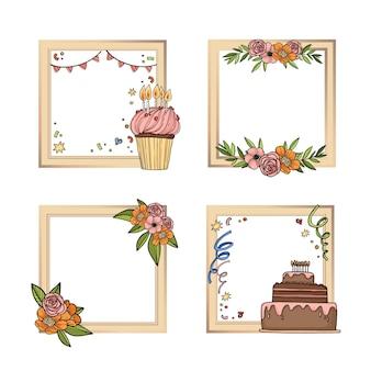 Collection de cadres de collage d'anniversaire dessinés à la main