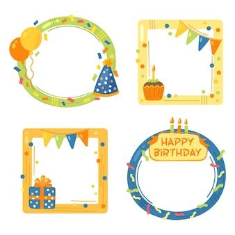 Collection De Cadres De Collage D'anniversaire Dessinés à La Main Vecteur gratuit