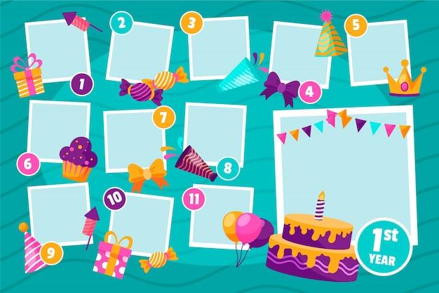 Collection De Cadres De Collage D'anniversaire Plat Vecteur gratuit