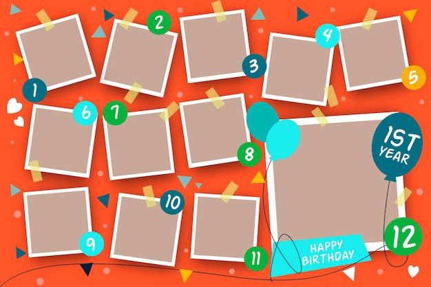 Collection De Cadres De Collage D'anniversaire Plats Vecteur gratuit