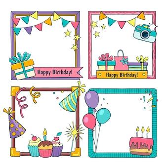 Collection de cadres de collage d'anniversaire
