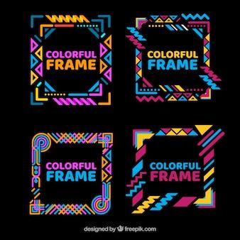 Collection de cadres colorés avec des formes géométriques