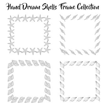 Collection de cadres en coquilles dessinées en noir et blanc