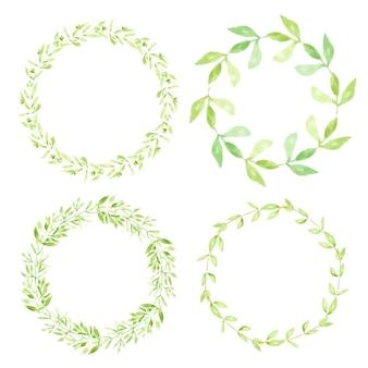 Collection de cadres de couronne aquarelle feuilles vertes