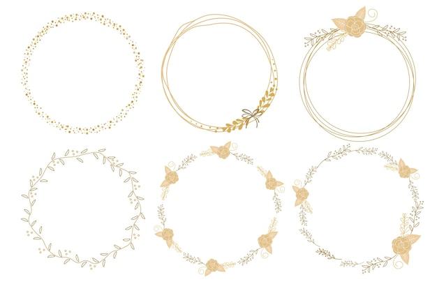 Collection de cadres de couronne de griffonnage rose doré minimal