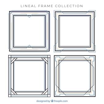 Collection de cadres dans le style linéaire