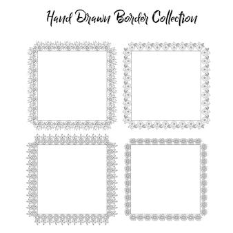 Collection de cadres dessinés à la main en noir et blanc