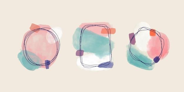Collection de cadres de doodle aquarelle peinte à la main