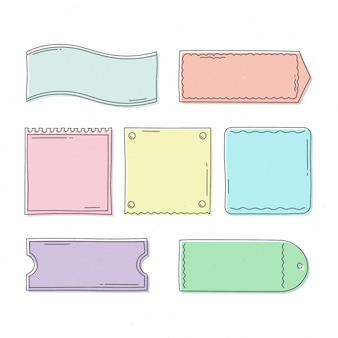 Collection de cadres de doodle colorés dessinés à la main