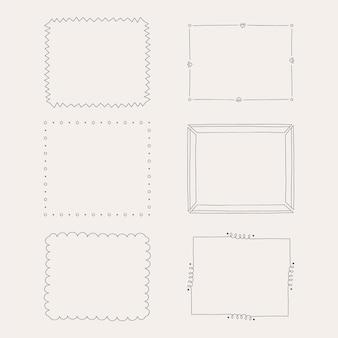 Collection de cadres de doodle dessinés à la main