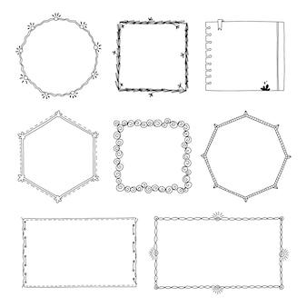 Collection de cadres doodle dessinés à la main