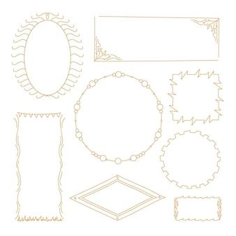 Collection de cadres doodle doré dessinés à la main