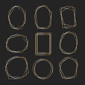 Collection de cadres dorés polygonaux