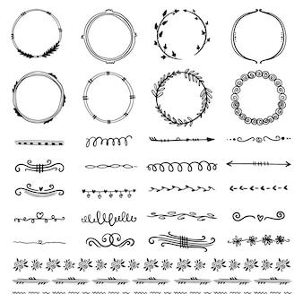 Collection de cadres et d'éléments décoratifs