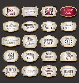 Collection de cadres et d'étiquettes vierges or