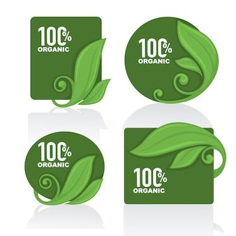 Collection de cadres de feuilles, d'étiquettes et d'autocollants