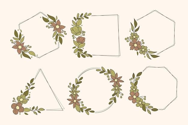 Collection de cadres de feuilles et de fleurs
