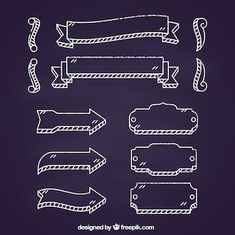 Collection de cadres et de flèches de rubans dans le style de tableau