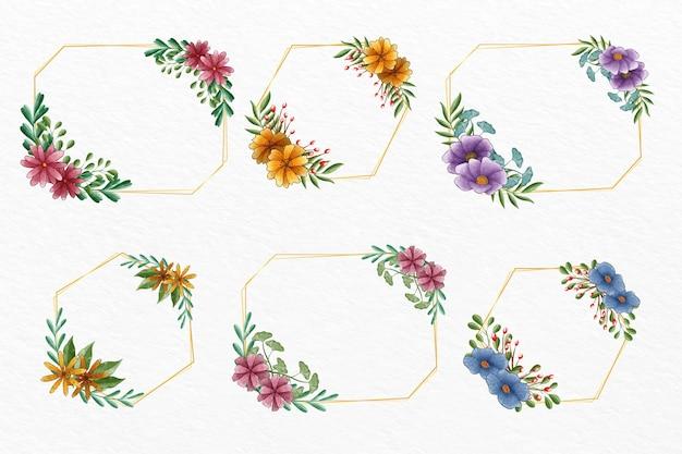 Collection de cadres floraux aquarelle